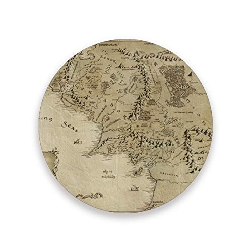 Middle Earth Map Drink Coasters Mat 3.9in Ceramic Stone Coasters with Cork Base Prevent Cups from Dirty and Scratched Suitable for Kinds of Mugs and Cups Set of 4
