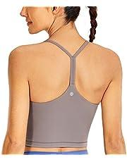 CRZ YOGA Women's Longline Wirefree Padded Sports Bra Racerback Spaghetti Straps Yoga Bra Workout Crop Tank Tops