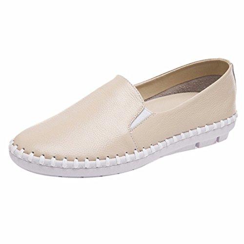 QIYUN.Z Frauen Entspringen Beiläufigen Flachen Weichen Fersen Kuhhaut Koreanische Loafer Schuhe Einzigen Schuh Cremefarbig