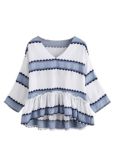Floerns Women's 3/4 Sleeve V Neckline Striped Frill Dip Hem Blouse Top Blue L