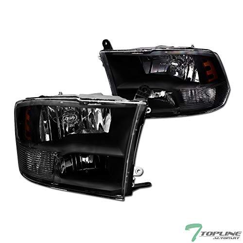 Topline Autopart Black Crystal Housing Quad Head Lamps Headlights Bumper Signal Amber Lights pair NB For 09-19 Dodge Ram 1500/2500 / 3500