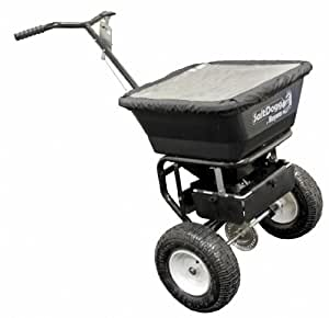 Buyers SaltDogg WB100B 1.5 Cubic Foot/100-Pound Capacity Poly Walk Behind Snow Broadcast Spreader With Carbon Steel Frame & 13-Inch Pneumatic Tires