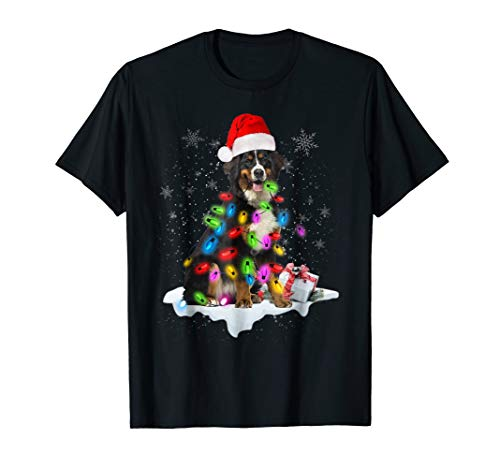 Bernese Mountain Christmas Shirt Santa Hat Xmas Lights Dog T