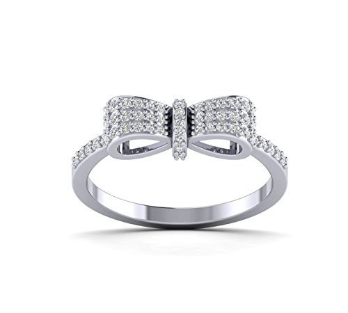Fehu Jewel 0.32cts Natural Diamond Gold Over Sterling Silver Beautiful Mickey Mouse Bow Ring for Women (White-Gold-Plated-Silver, 7) ()