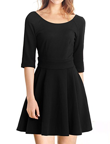Allegra K Women Scoop Neck Elbow Sleeve Pleated Casual Swing Dresses Black XL