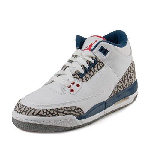 Nike Jordan Kids Air Jordan 3 Retro Og Bg White/Fire Red True Blue Basketball Shoe 4 Kids US
