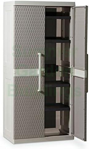 Armario de oficina de plástico/exterior – jardín caja de almacenaje armario – ratán estilo: Amazon.es: Jardín