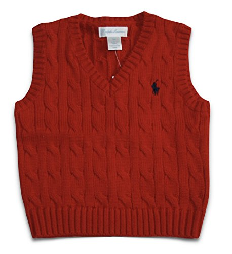 RALPH LAUREN Infant Boys Cable Knit Sweater Vest (3M 3 Months) - Ralph Vest Sweater Lauren Boys