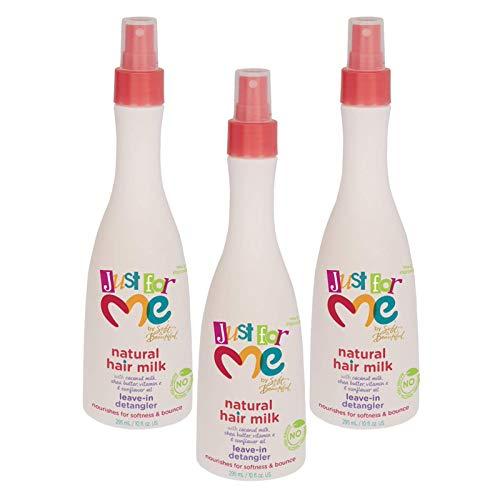 Just for Me Natural Hair Milk Detangler (3 Pack) - Detangles & Helps Prevent Breakage, For All Hair Textures, Contains Coconut Milk, Shea Butter & Sunflower Oil, Restores Moisture, Shine, 10 oz