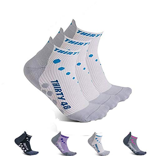 Thirty 48 Compression Low-Cut Running Socks for Men and Women (Small - Women 5-6.5 // Men 6-7.5, [3 Pairs] Blue/White) by Thirty 48 (Image #8)