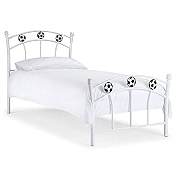 Soccer Bed Frame Curved Bars Football Details Metal White