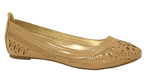 Slip Comfy Flat On Loafer Ladies Shoes Out Dolly Cut Pump Ballet Ballerinas PVC Nude vqPda0Pw