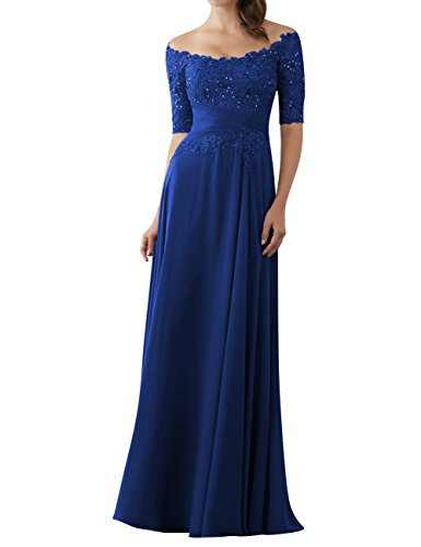 - Evening Dresses Mother of The Bride Gowns with Sleeves Lace Long Chiffon Beaded Royal Blue US6