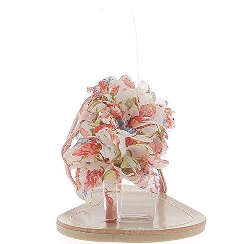 ChaussMoi Infradito reef piatto con tra dito decorazione fiore tessuto