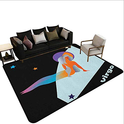 (Non-Slip Carpet Zodiac Virgo,Stars and Symbols Theme Abstract Artistic Woman Figure Day and Night Concept, Multicolor)