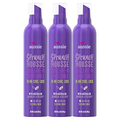Aussie Leave In Conditioner & Mousse, with Jojoba & Sea Kelp, Sprunch, For Curly Hair, 6.8 fl oz, Triple Pack (Best Curl Mousse For Curly Hair)