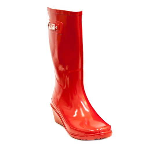 Rain Red Boots Fire Wedge Rubber by Women Forever Young FnApxEq