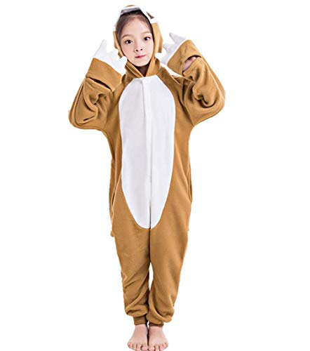 CANASOUR Polyster Halloween Animal Kid Sloth Costume Cosplay Pajamas (6(105#), Brown) ()