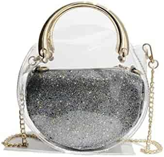 001008e63 Hologram Tote Bag Purse 2 in 1 Round Holographic Clear Purses and Handbags
