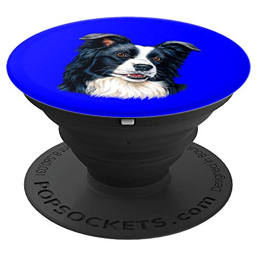 Cute Border Collie Dog Owner Portrait Art Design Gift - PopSockets Grip and Stand for Phones and Tablets