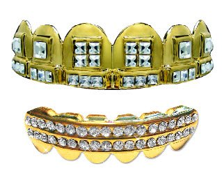 Hip Hop Gold Teeth Grillz Set ''Nelly'' Style