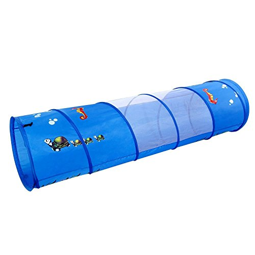 WolfWise Play Tunnel Pop-up Children Tunnel Kids Portable Discovery Crawl Tunnel with Mesh, 6 Feet, 190T Polyester, Blue (Play Kids Tunnel)