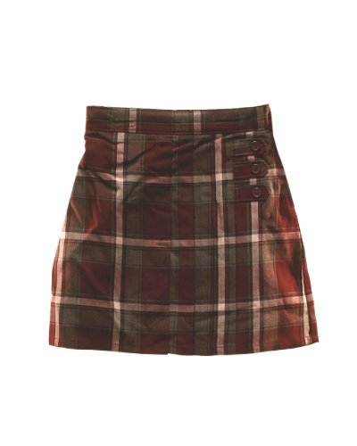 Girls Plaid Skort Button Strap Trimmed Front Burgundy White Grey