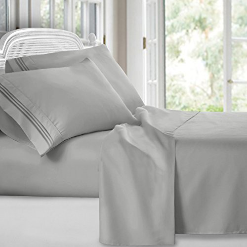 Clara Clark Premier 1800 Collection Deluxe Microfiber Three Line Bed Sheet Set, Silver Light Gray, -
