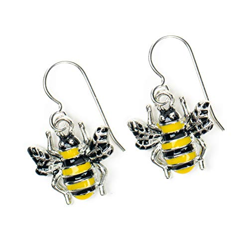Yellow and Black Enameled Sterling Silver Bumblebee Earrings