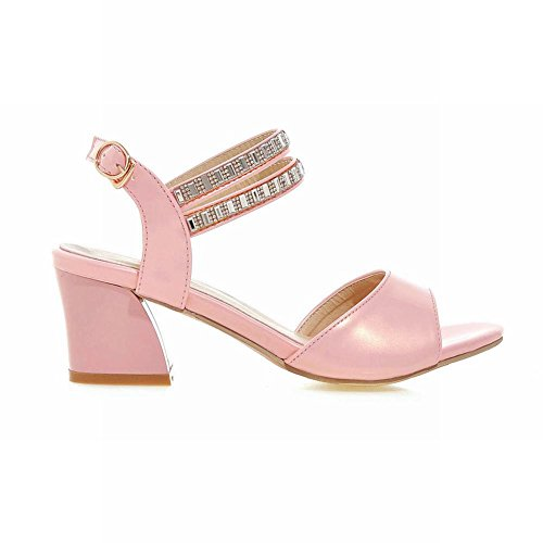 Carolbar Mujeres Hebilla Rhinestones Elegance Sweet Fashion Peep Toe Chunky Heel Sandalias De Vestir Rosa
