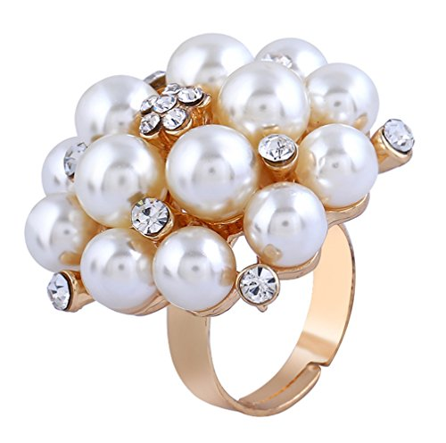 Greendou Fashion Jewelry Pearl Flower Fashion Cocktail Ring Clear Austrian Rhinestone Crystal Adjustable Rings for Women and Girls Flower Cocktail Adjustable Ring