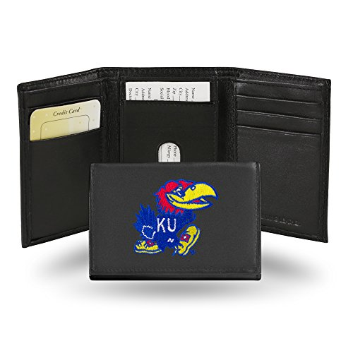 Rico Industries NCAA Kansas Jayhawks Embroidered Leather Trifold Wallet
