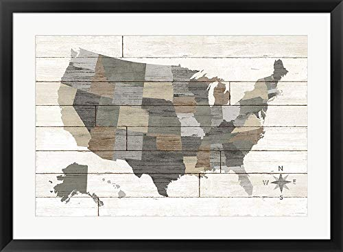 Barnboard Map Neutral no Words by Sue Schlabach Framed Art Print Wall Picture, Black Frame, 34 x 25 inches