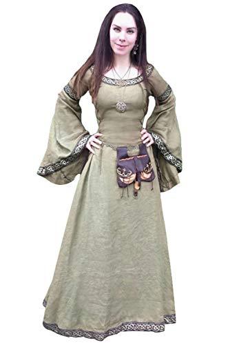 Medieval Halloween Avec Col Longue Medievale Claire Robe Renaissance Victorien Lacets Rond Deguisement Princesse Gothique Vert 8vmN0nw
