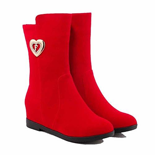 Solide Kattunge Kvinners Allhqfashion Midt Red Hæler Boots Imitert Semsket Glidelås Oppå qgpwwRnOxY