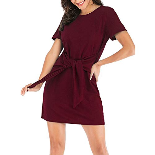 CCOOfhhc Summer Tshirt Dresses for Women Casual Short Sleeve Party Bodycon Sheath Belted Dress Solid Mini Dress ()