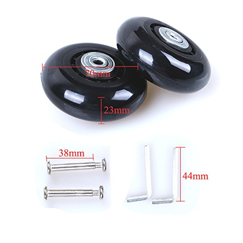Grow0606 Black Luggage Suitcase/Inline Outdoor Skate Replacement Wheels with ABEC 608zz Bearings (70X23MM) ()