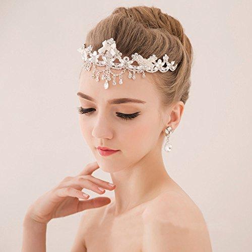 Bella-Vogue -Flowers tassel diamond wedding tiara crown-NO.243
