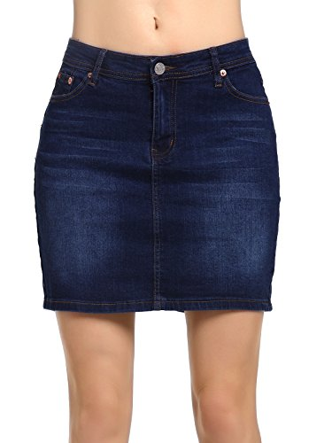 - 41EiW0cK3jL - Beluring Womens Denim Jean Mini Skirt
