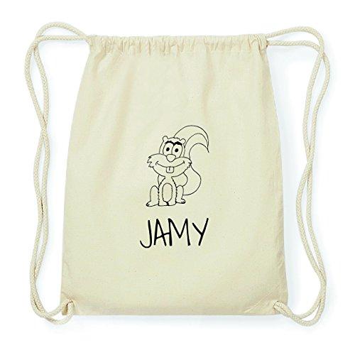 JOllipets JAMY Hipster Turnbeutel Tasche Rucksack aus Baumwolle Design: Eichhörnchen