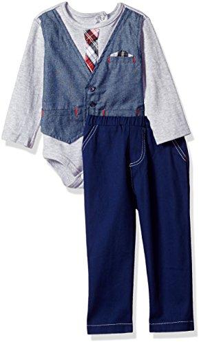 Little Lad Baby 2 Piece Faux Vest Bodysuit Pant Set, Navy Print, 3/6 Months
