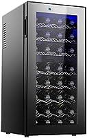 MYYINGELE Minibar Vinoteca de 32 Botellas Temperatura 12° - 18° C Volumen de 78 litros Panel de Control Táctil iluminación LED 7 Baldas de Madera