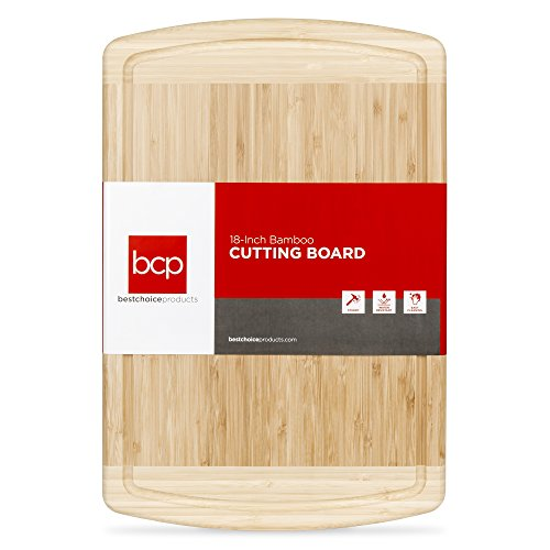 Best Choice Products 18x12in Kitchen Bamboo Butcher Block Cutting Board Tray for Chopping, Serving w/Juice Drip Groove
