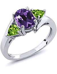 1.62 Ct Oval Amethyst and Peridot Gemstone Birthstone 925 Sterling Silver Ring (Available in size 5, 6, 7, 8, 9)