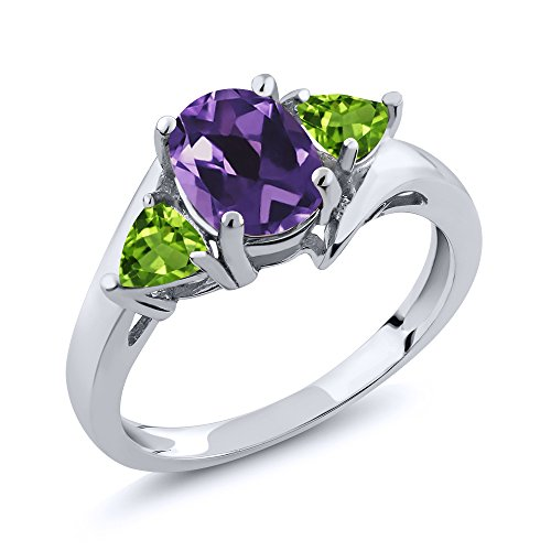 Peridot Stone Genuine Ring (Amethyst and Peridot Gemstone Birthstone 925 Sterling Silver Ring 1.62 Ct Oval (Size 8))