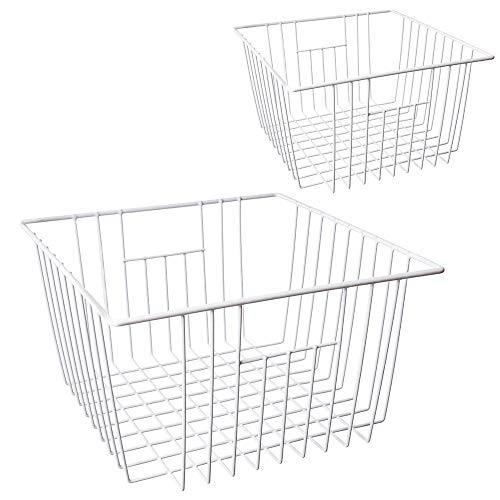 MOHICO Freezer Basket, Wire Storage Basket Bins Organizer with Handles for Kitchen, Pantry, Freezer, Cabinet - Pearl White (set of 2)