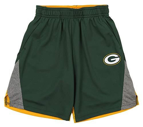 Outerstuff NFL Kids (4-7) Performance Team Logo Energy Shorts, Green Bay Packers Large (7)
