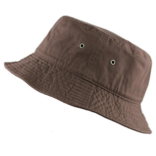 The Hat Depot 300N Unisex 100% Cotton Packable Summer Travel Bucket Hat (L/XL, Brown)