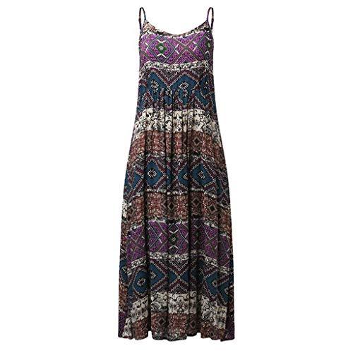 dea1509eb5c0 WUAI Womens Maternity Sleeveless Dress Bohemian Printed Camisole Maxi Dress  S-4XL(Purple,Large)