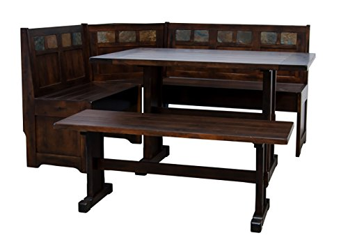 California Bookcase Cabinet - Sunny Designs Santa Fe Breakfast Nook Set with Side Bench